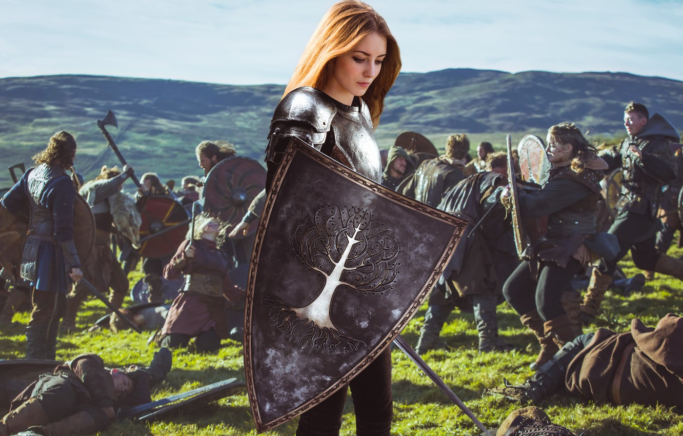 Photo wallpaper dream, girl, fantasy, armor, field, nature, young, model, pretty, mood, army, battle, look, wind, cute, …
