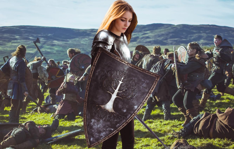 Photo wallpaper dream, girl, fantasy, armor, field, nature, young, model, pretty, mood, army, battle, look, wind, cute, …