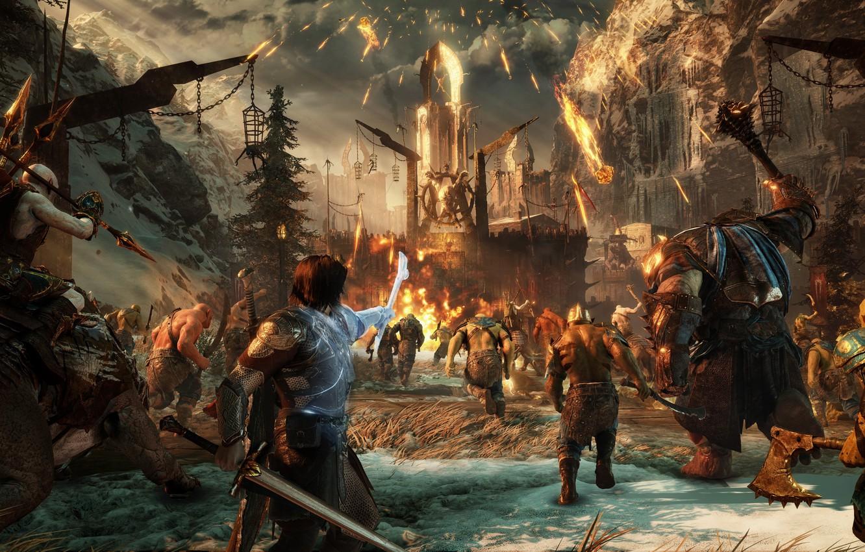 Photo wallpaper sword, game, war, man, fight, ken, blade, Middle-earth, troll, warrior, combat, ork, Shadow Of War, …