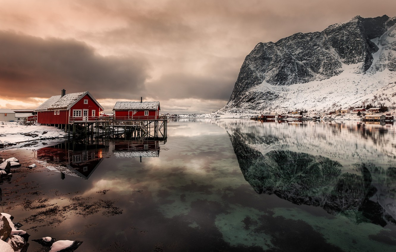 Photo wallpaper reflection, mountains, home, Norway, the fjord, The Lofoten Islands