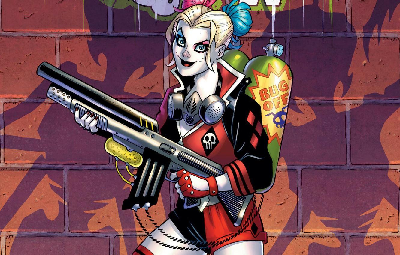 Photo wallpaper Look, Smile, Eyes, Weapons, Comic, Shadows, Gun, Gun, Smile, Respirator, Eyes, Harley Quinn, Weapon, DC …