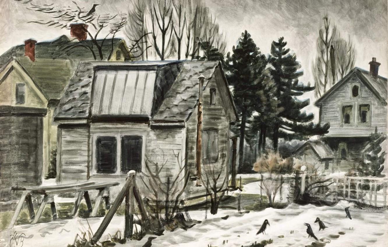 Photo wallpaper Charles Ephraim Burchfield, 1941-45 1, Blackbirds in the Snow