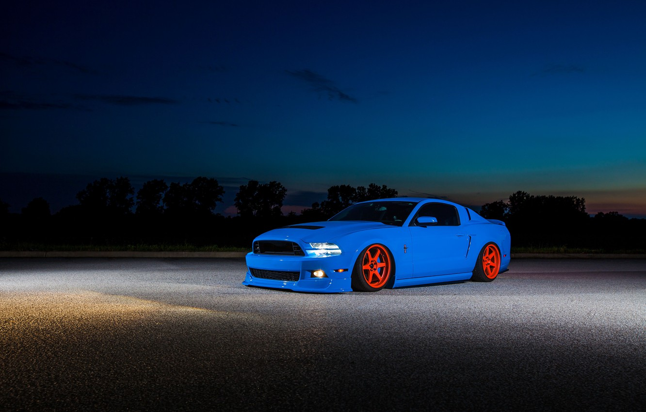 Photo wallpaper mustang, ford, shelby, blue