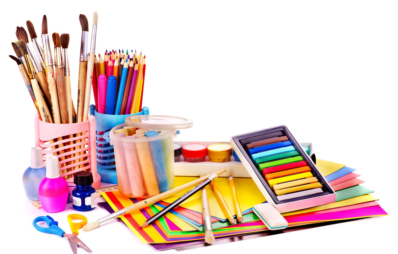 Photo wallpaper paper, paint, pencils, white background, crayons, scissors, brush, eraser