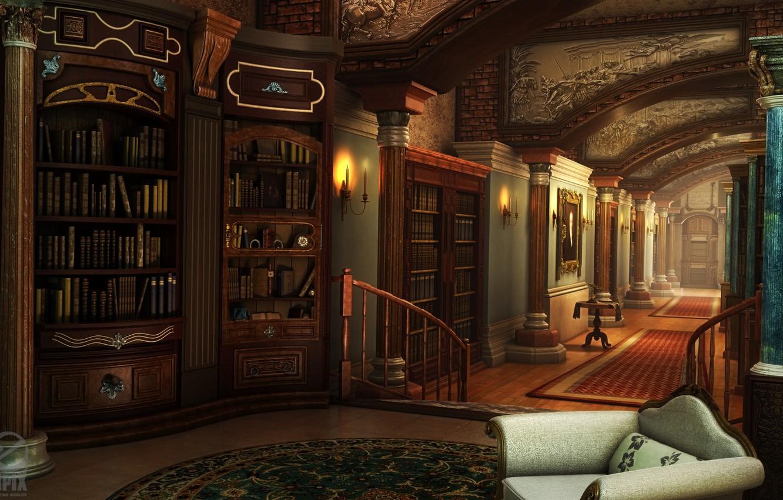 Photo wallpaper furniture, corridor, columns, library, HOPA scenes
