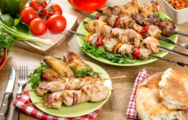 Photo wallpaper greens, bread, meat, tomato, kebab