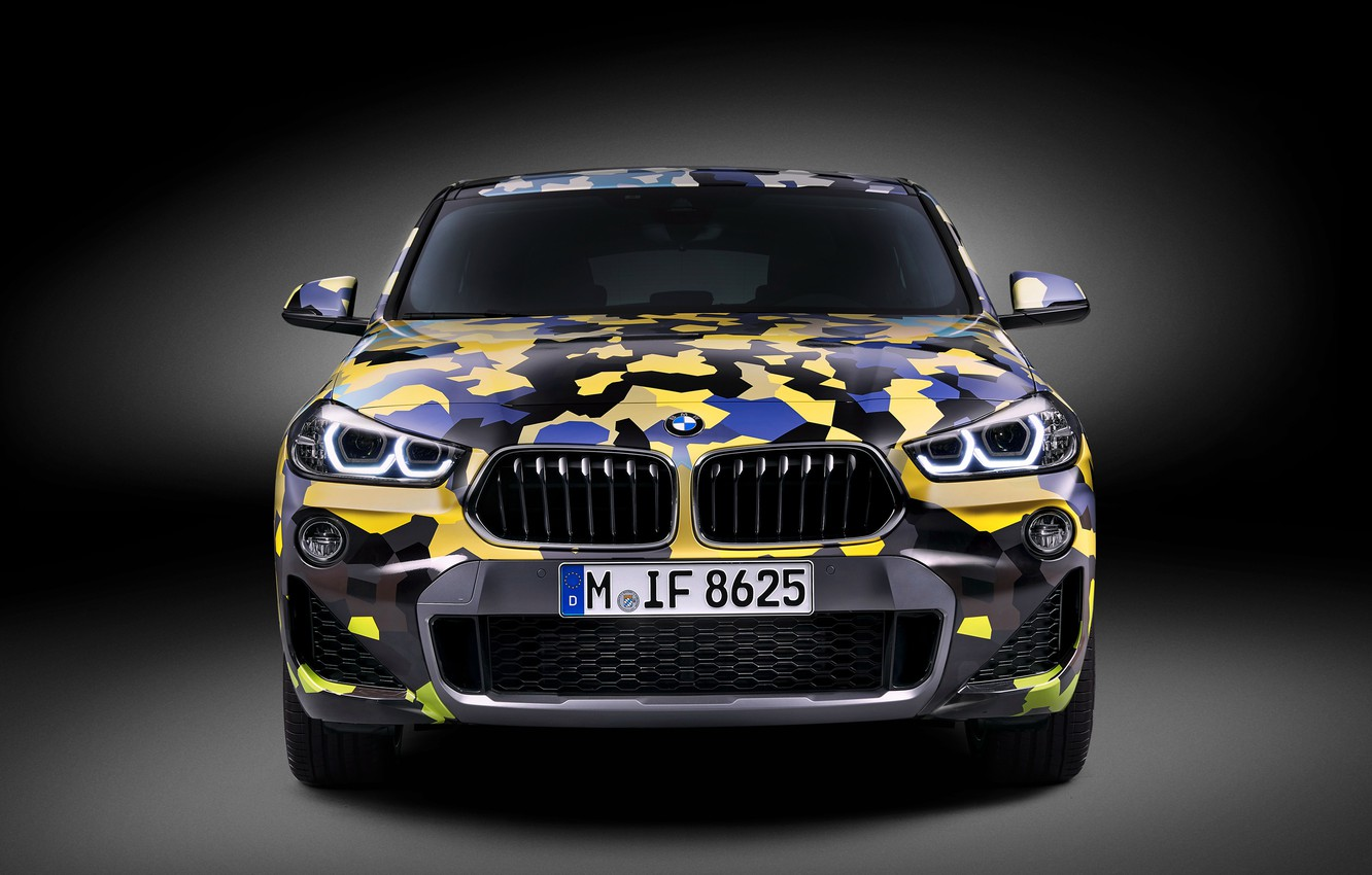 Photo wallpaper Concept, front view, 2018, crossover, Digital Camo, BMW X2