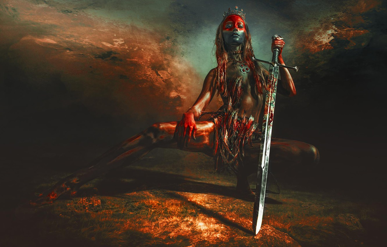 Photo wallpaper girl, pose, background, sword, feathers, crown, Diadema, paint, RED SKY OVER UTAH