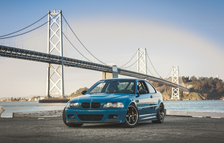 Photo wallpaper BMW, Blue, E46, Sea