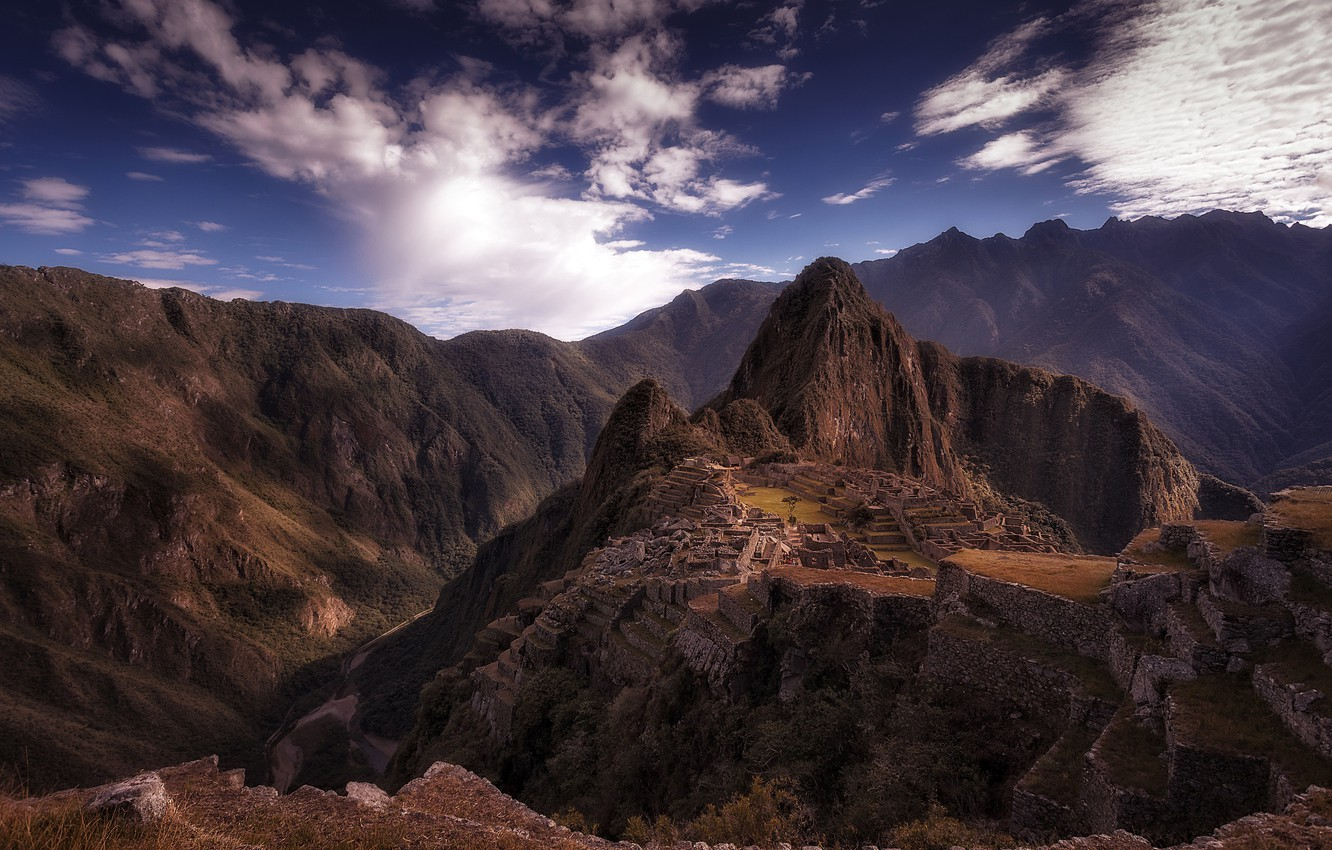 Photo wallpaper the sky, clouds, mountains, the city, ruins, Andes, South America, Machu Picchu