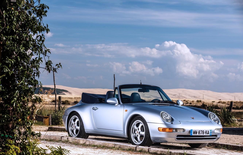 Photo wallpaper the sky, Porsche, convertible, Porsche 911, Carrera, Cabriolet, Silver