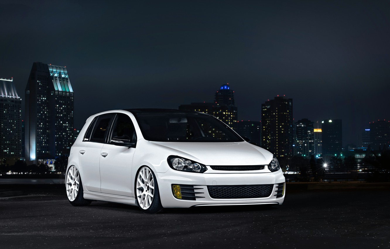 Photo wallpaper Volkswagen, golf, White, GTI, MK6