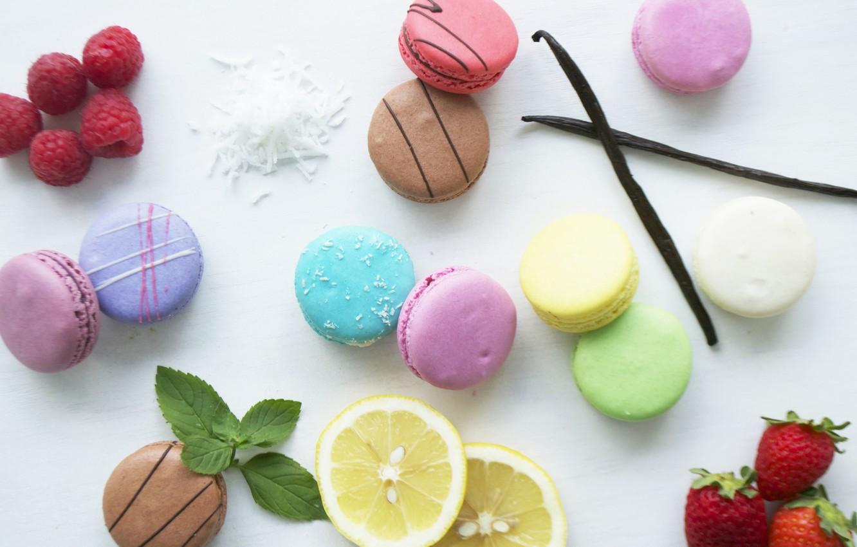 Photo wallpaper raspberry, lemon, strawberry, vanilla, macaroon