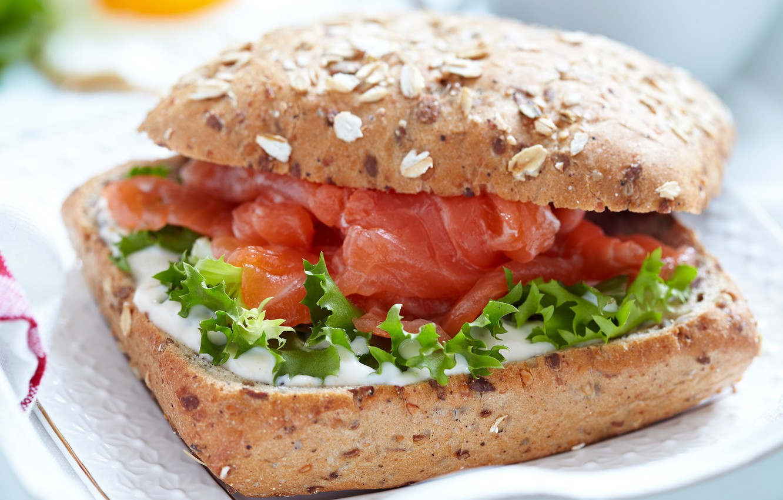 Photo wallpaper bread, sandwich, sauce, Burger, salmon