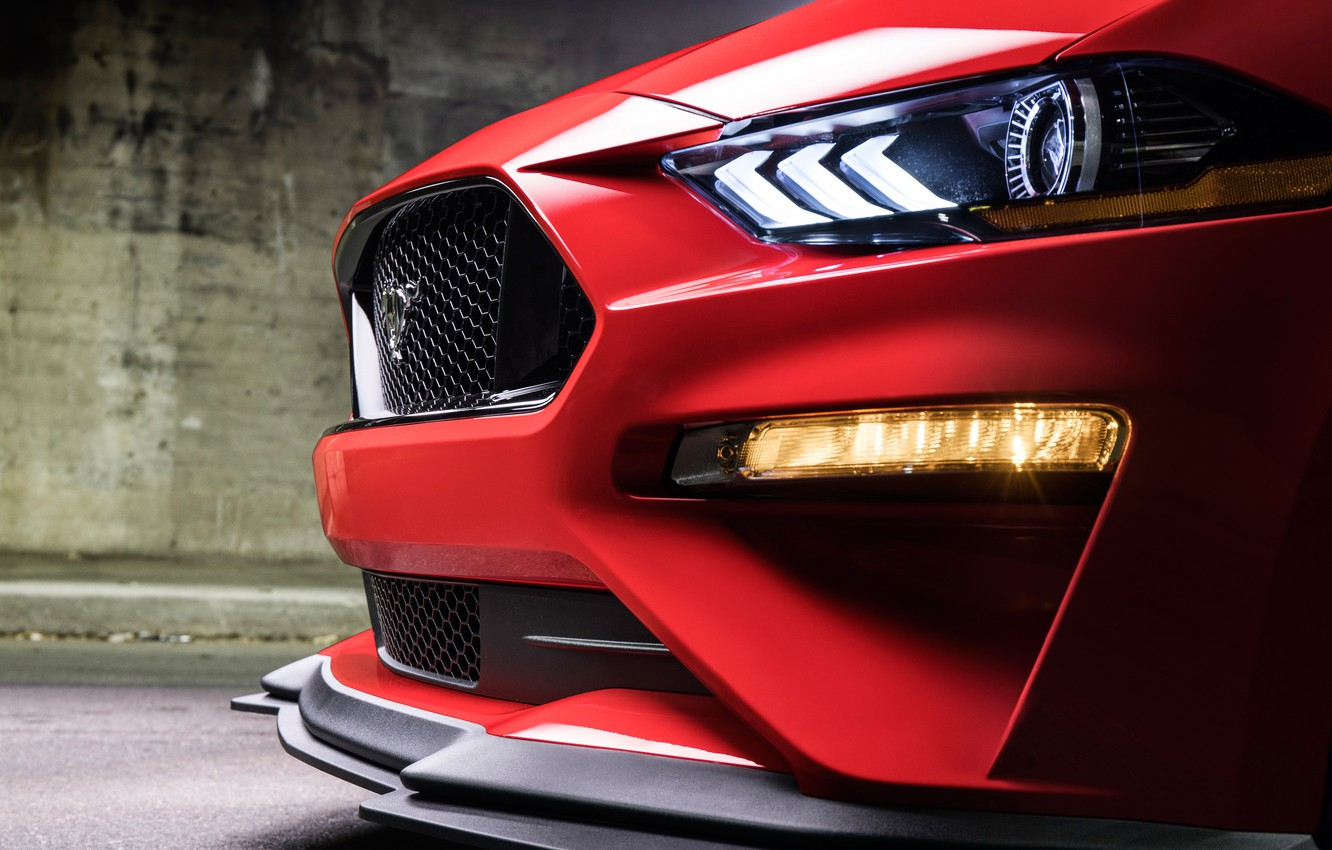 Photo wallpaper Ford, headlight, 2018, Mustang GT, Level 2 Performance Pack