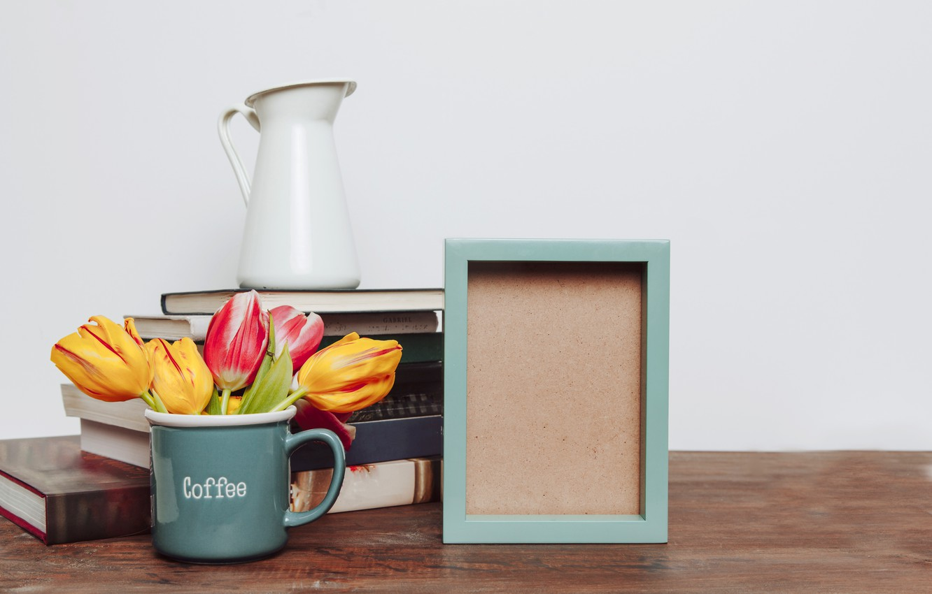 Photo wallpaper flowers, photo, books, bouquet, frame, colorful, mug, tulips, flowers, romantic, tulips, spring, coffee, mug