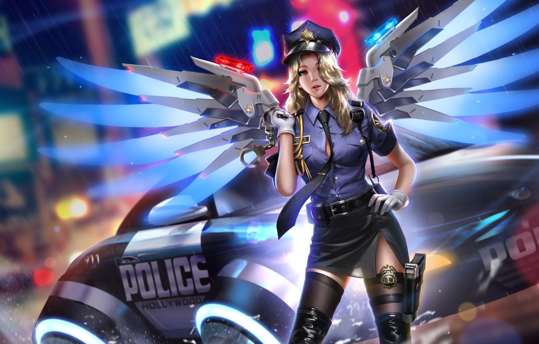 Photo wallpaper machine, girl, lights, gun, weapons, rain, wings, police, art, form, handcuffs, overwatch, mercy, liang xing
