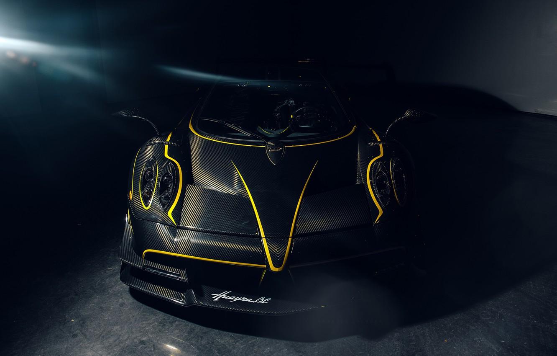 Photo wallpaper Pagani, Front, Black, Supercar, To huayr