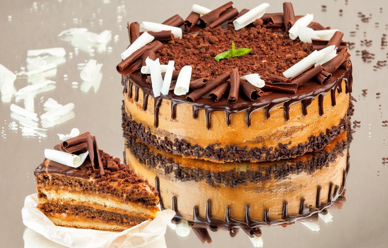 Photo wallpaper reflection, chocolate, cake, cream, piece