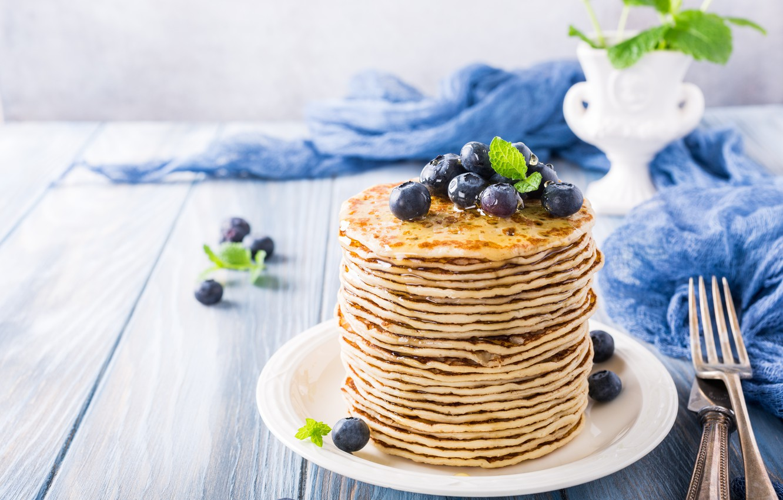Photo wallpaper berries, blueberries, honey, pancakes, pancakes