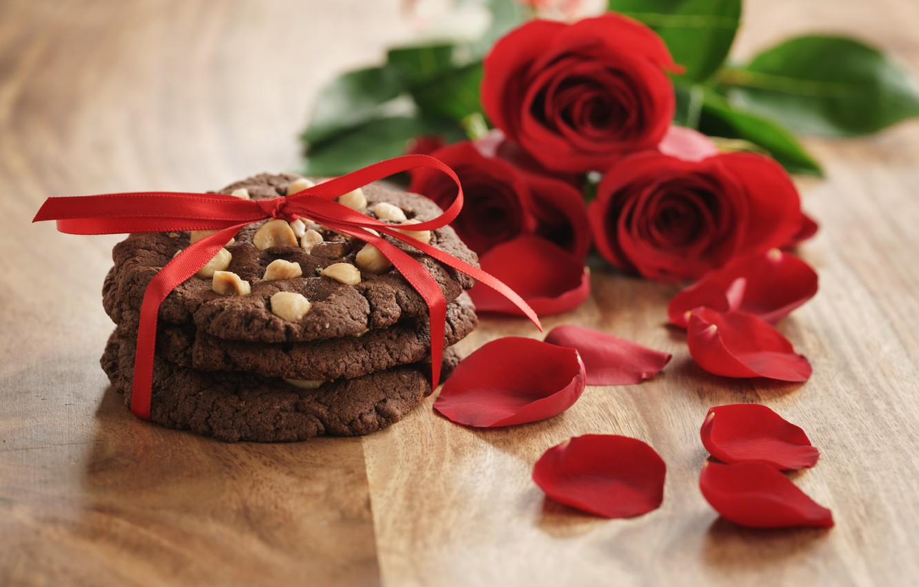 Photo wallpaper bouquet, petals, cookies, red, romantic, Valentine's Day, gift, roses, red roses, I love You