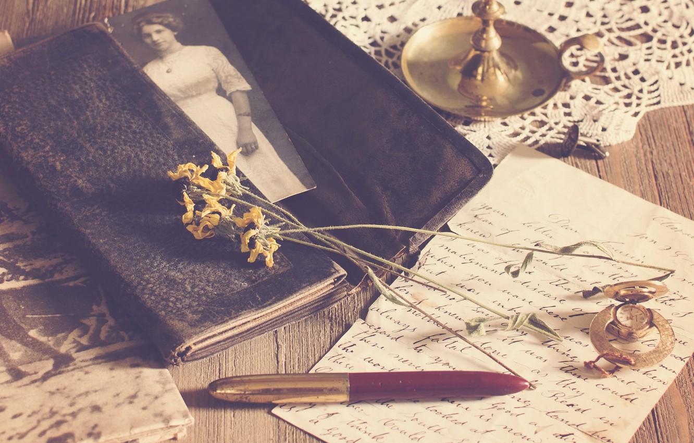 Photo wallpaper letter, photo, handle, vintage