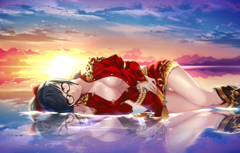 Photo wallpaper Sunset, Water, Girl, Blade & Soul