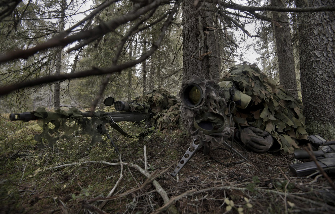 Photo wallpaper forest, sniper, camouflage, rifle, partner