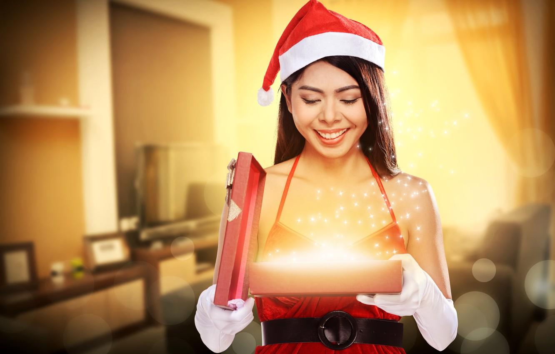 Photo wallpaper girl, holiday, gift, new year