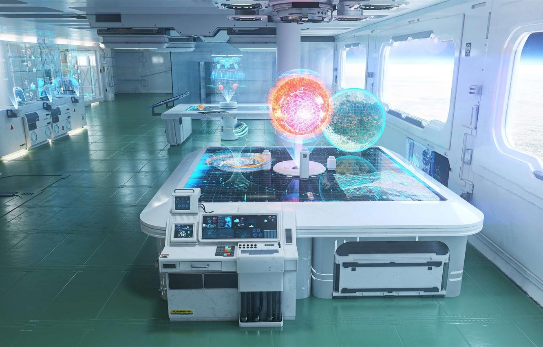 Photo wallpaper laboratory, the room, E.V.A Space Station, Sofian Moumene