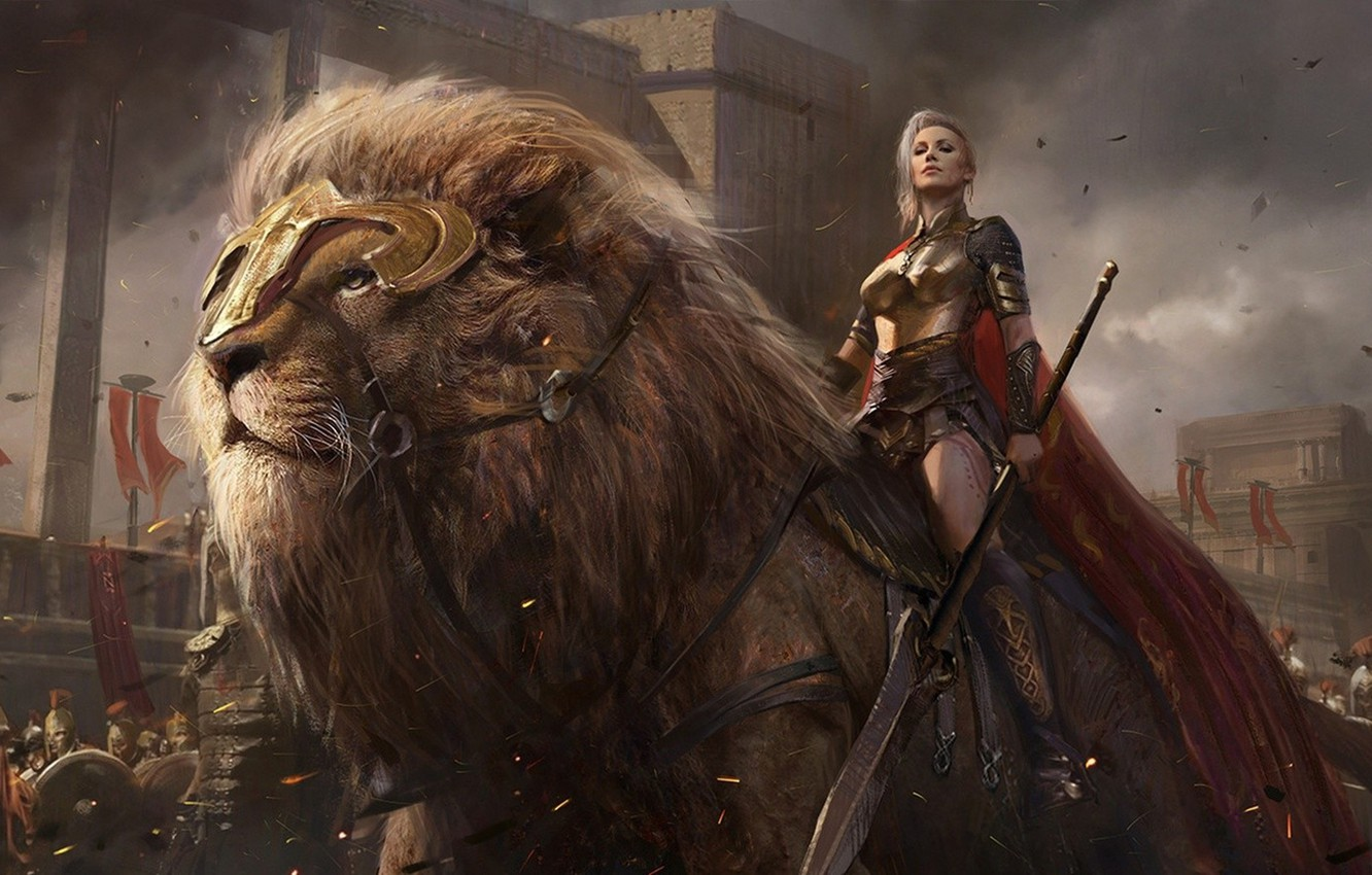 Photo wallpaper lion, power, army, ken, men, weapons, shield, swords, spears, sovereign, blades, giant lion, conquerors