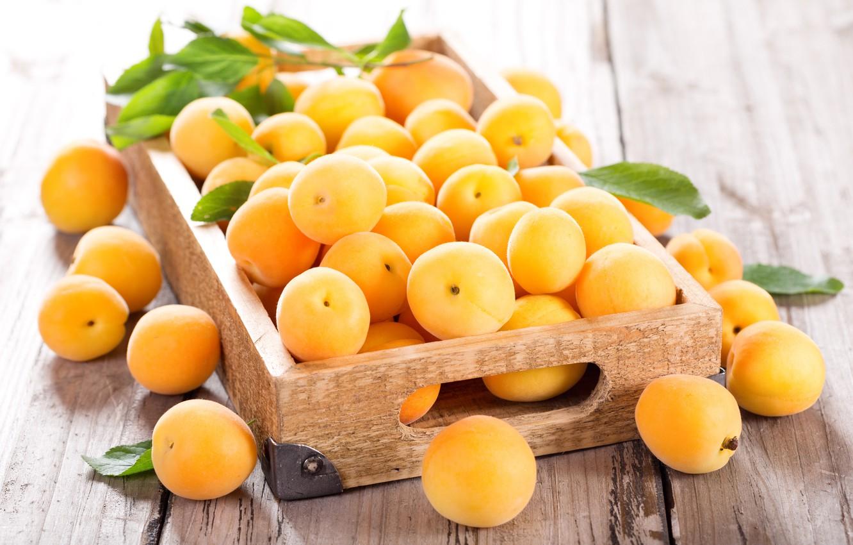 Photo wallpaper light, box, fruit, apricots, apricots