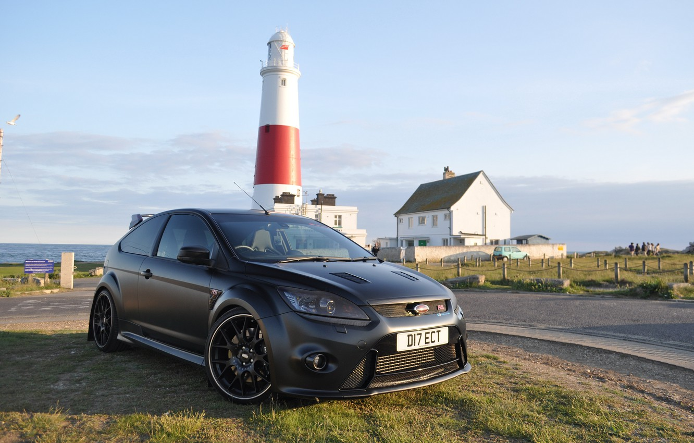 Photo wallpaper Ford, Focus, black, lighthouse, matte