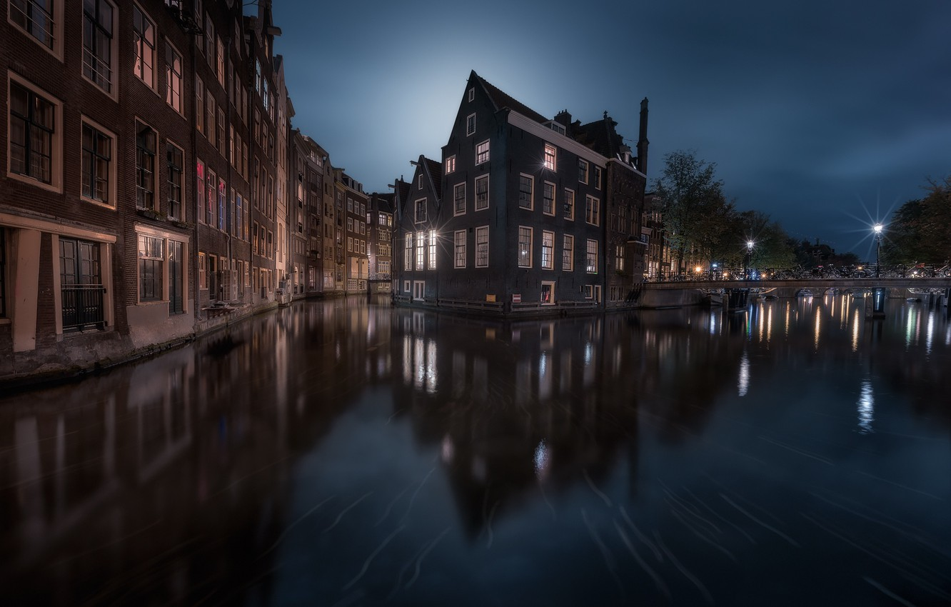 Photo wallpaper water, night, the city, lights, home, Amsterdam, Netherlands, channels