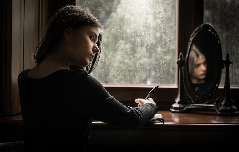 Photo wallpaper mirror, window, girl, Letters