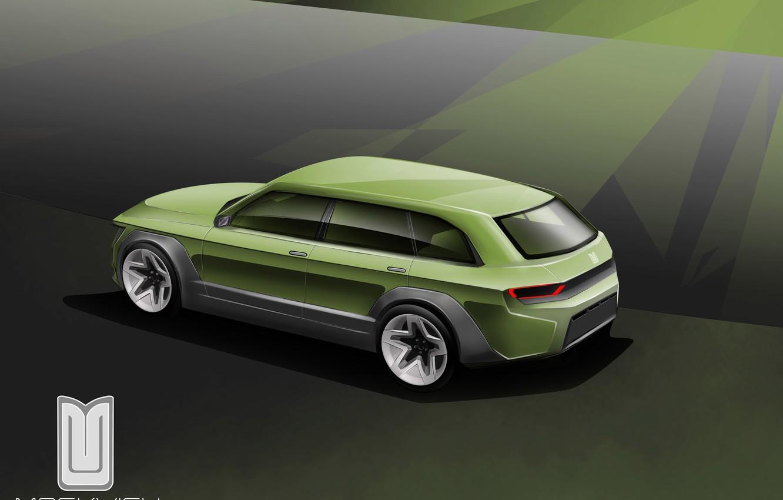 Photo wallpaper Auto, The concept, Car, Car, Art, Auto, Drives, Side, Green, Muscovite, Moskvich 2020, Muscovite 2020