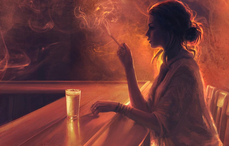 Photo wallpaper girl, glass, smoke, chairs, cigarette, profile, boredom, bar, Mandy Jurgens