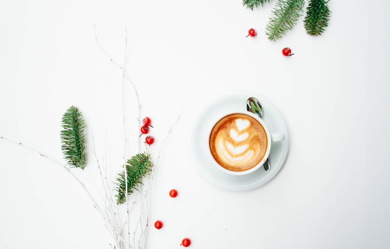 Photo wallpaper berries, tree, coffee, minimalism, cappuccino, foam, morning, coffee cup, coffee, a sprig of spruce