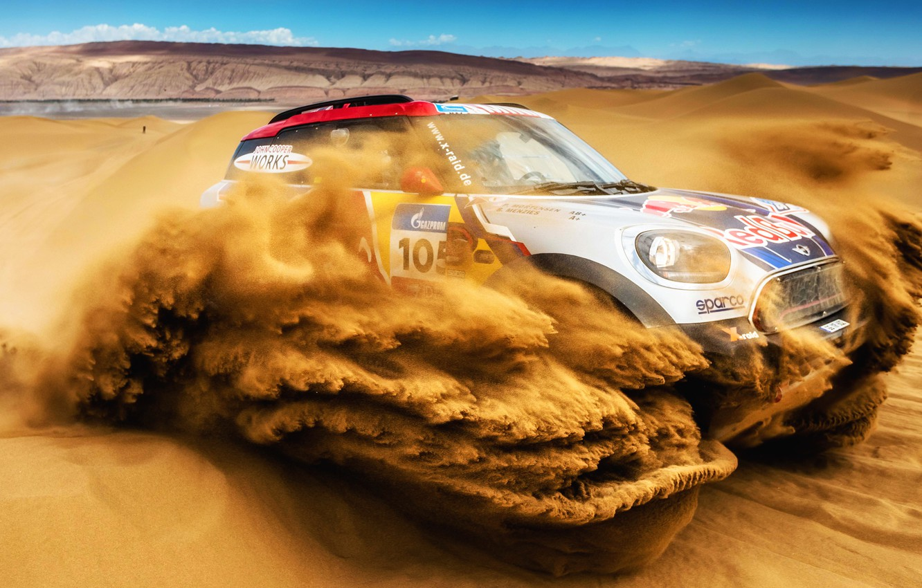 Photo wallpaper Sand, Mini, Desert, Speed, Rally, SUV, Rally, 105, Dune, X-Raid Team, MINI Cooper, Silk road, …
