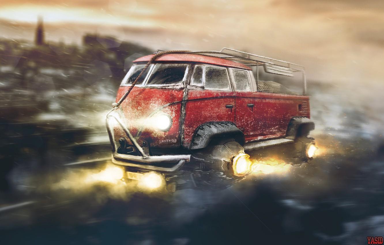 Photo wallpaper Red, Auto, Figure, Volkswagen, Machine, Background, Car, Car, Art, Art, Fiction, Rendering, Flies, Yasid Design, …