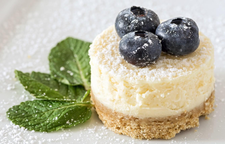 Photo wallpaper berries, cake, leaves, dessert, blueberries, cheesecake