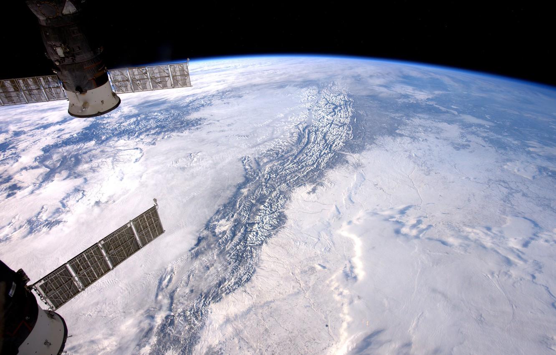 Photo wallpaper planet, Earth, ISS, NASA, Rocky mountains