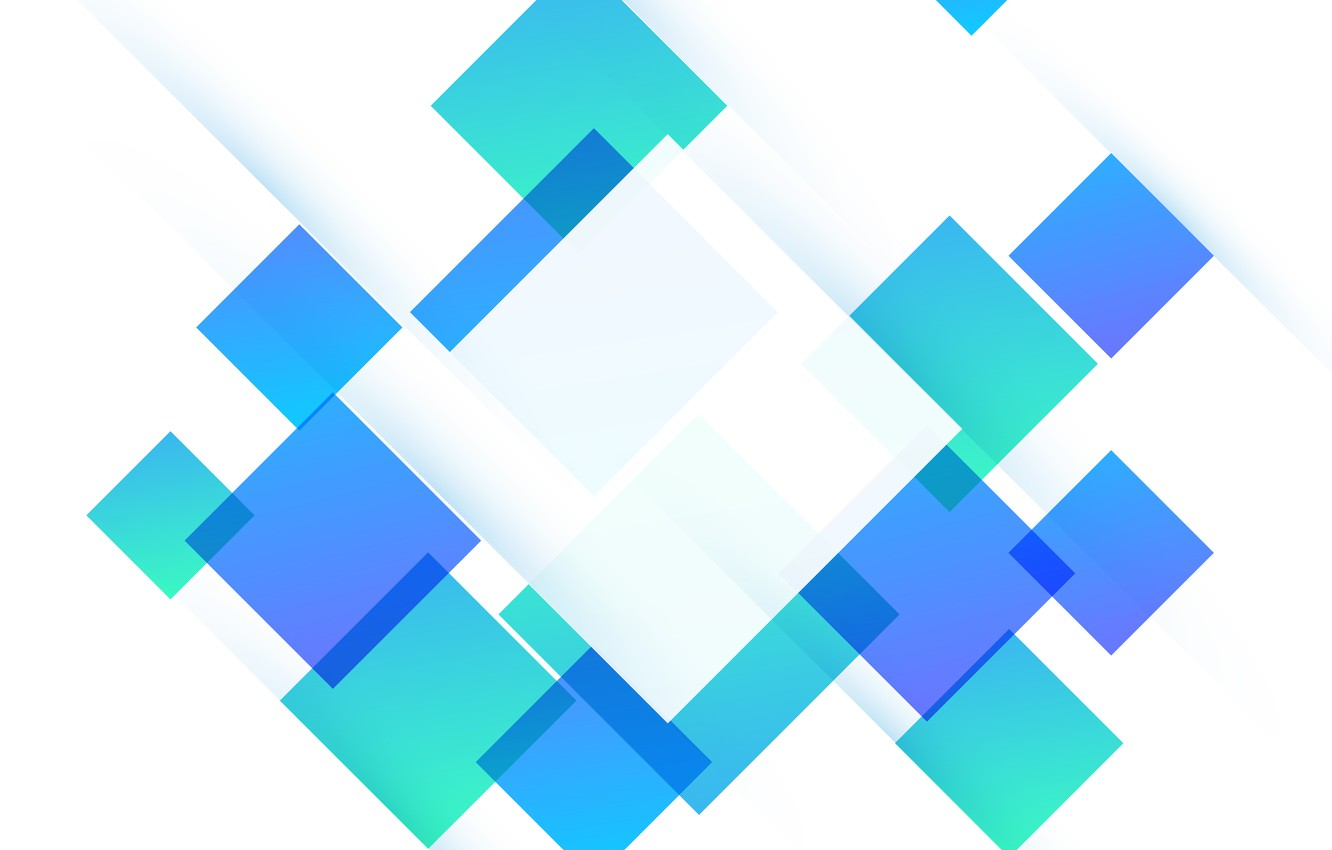 Photo wallpaper abstraction, green, Wallpaper, abstract, white, geometry, blue, background, squares