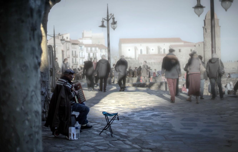 Photo wallpaper street, music, the city, accordion, people
