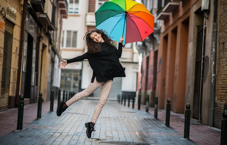 Photo wallpaper girl, the city, smile, mood, street, umbrella