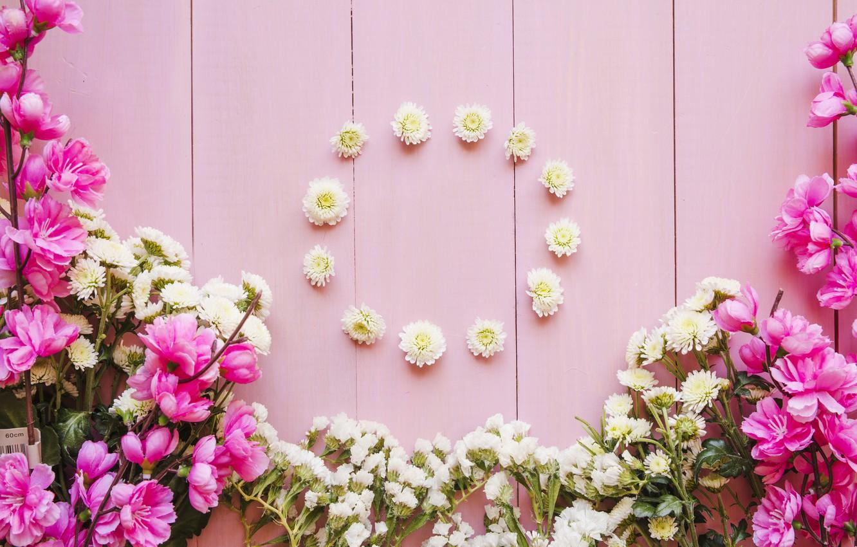 Photo wallpaper flowers, flower, wood, pink, bouquets, decoration, circle, bouquets