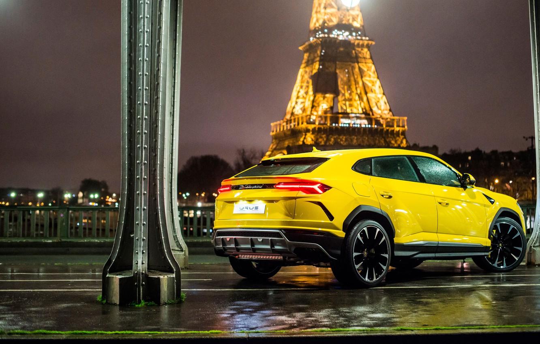 Photo wallpaper Paris, Lamborghini, Eiffel tower, rear view, 2018, Urus