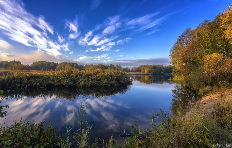 Photo wallpaper autumn, the sky, trees, lake, beauty, Aleksei Malygin