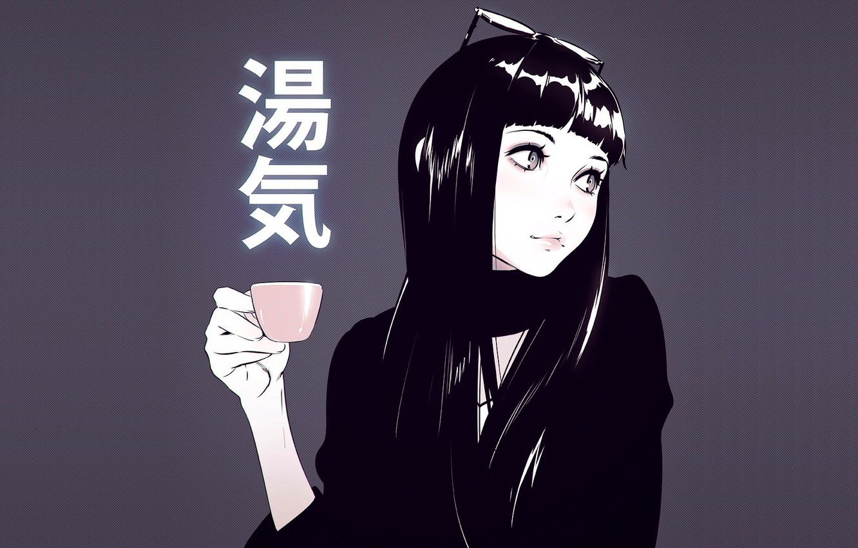 Photo wallpaper girl, background, glasses, Cup, anime, art, Ilya Kuvshinov