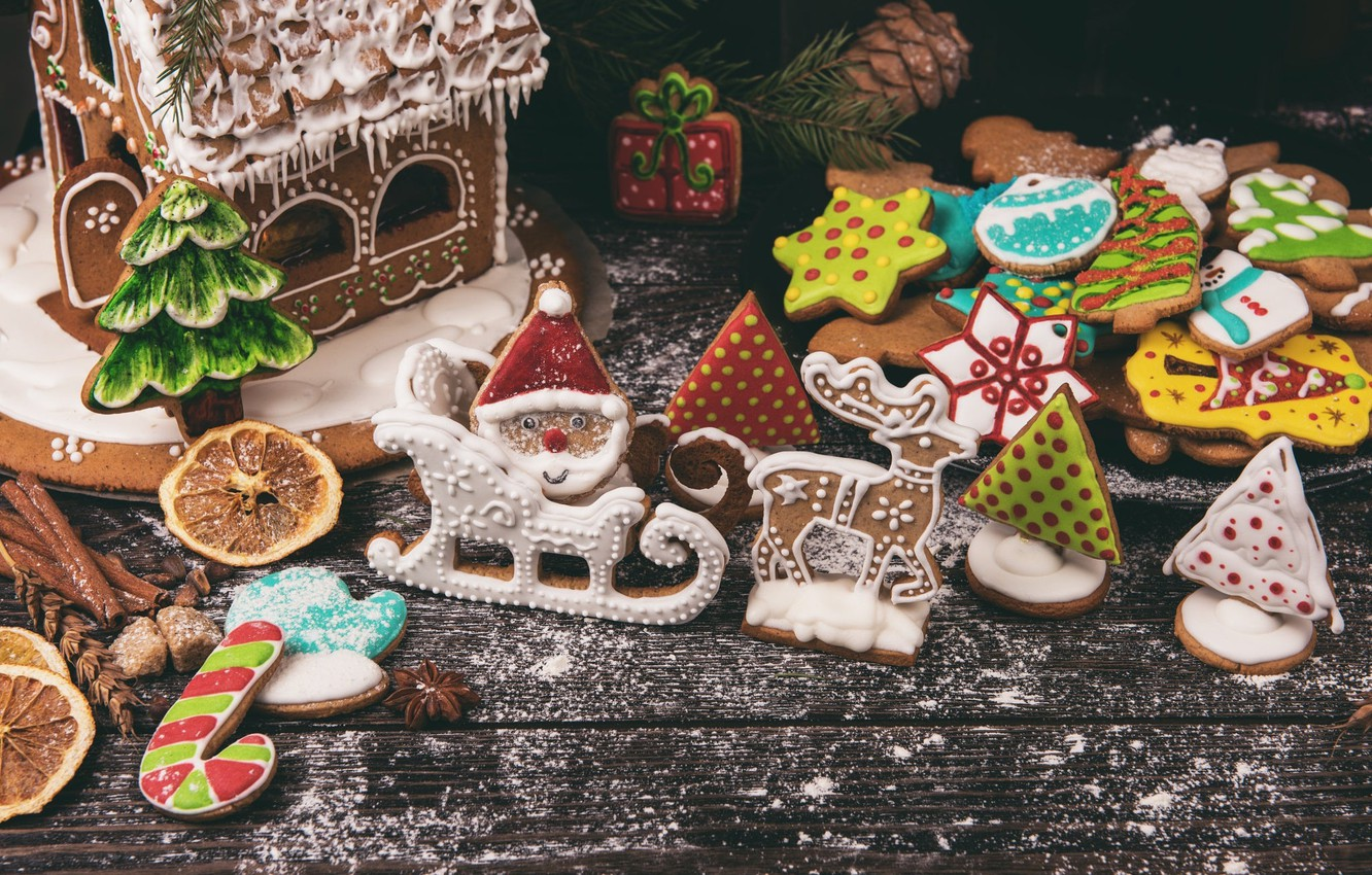 Photo wallpaper branches, holiday, Board, Christmas, cookies, sugar, tree, bumps, figures, cakes, spices, gingerbread, powder, gingerbread house